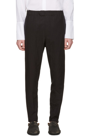 Ann Demeulemeester - Black Elasticized Waistband Trousers