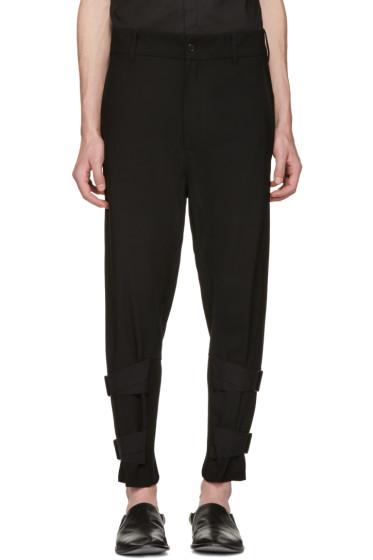 Ann Demeulemeester - Black Rib & Straps Cuffs Trousers