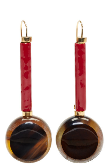 Marni - Tortoiseshell Round Drop Earrings