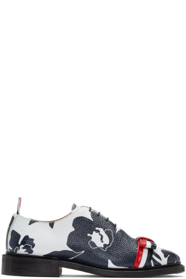 Thom Browne - Navy & White Floral Outline Wholecut Bow Oxfords