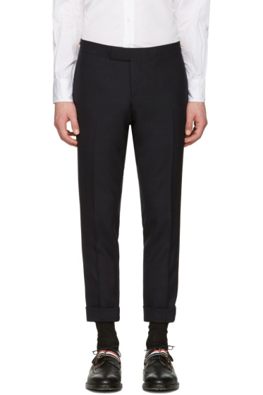 Thom Browne - Navy Low-Rise Skinny Side Tab Trousers