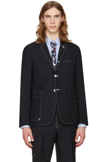 Thom Browne - Navy Constructed Square Pocket Blazer