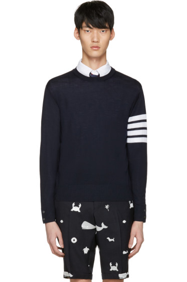 Thom Browne - Navy Classic Four Bar Pullover