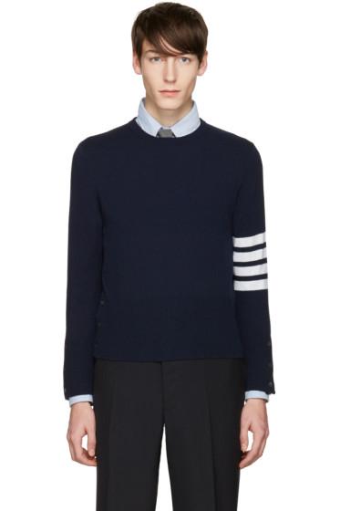 Thom Browne - Navy Classic Crewneck Short Pullover