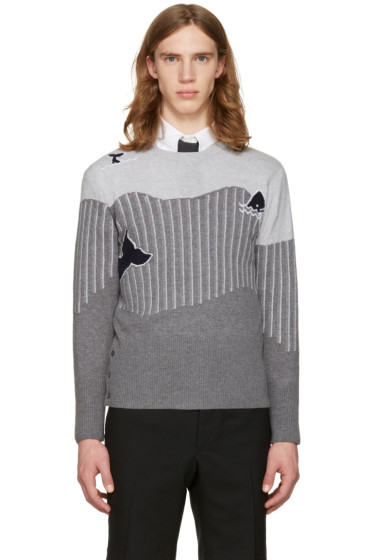 Thom Browne - Grey Sea Animal Classic Pullover