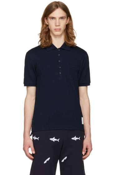 Thom Browne - Navy Pocket Polo