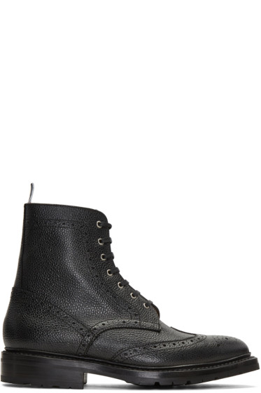 Thom Browne - Black Wingtip Boots