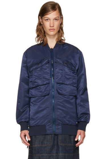 Kenzo - Navy Elevated Military Pockets Bomber Jacket