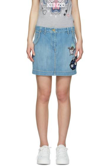 Kenzo - Blue Denim Embroidered Skirt