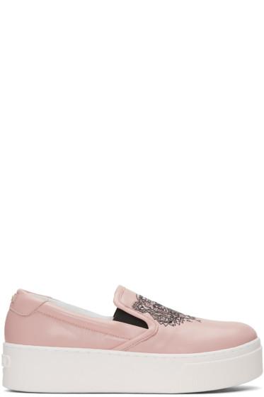 Kenzo - Pink K-PY Tiger Platform Slip-On Sneakers