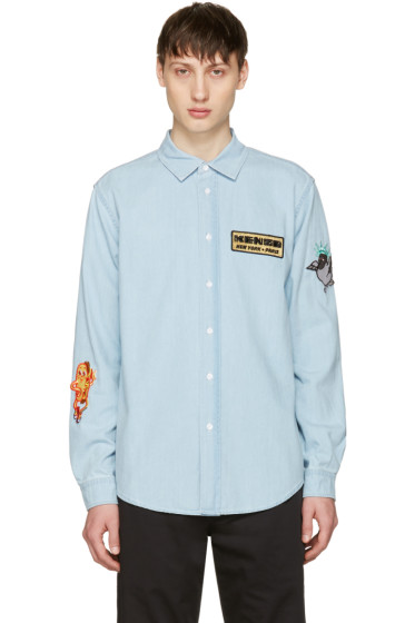 Kenzo - Blue Denim Badges Shirt