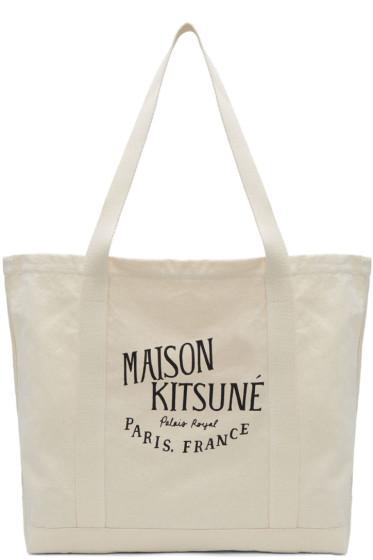 Maison Kitsuné - Ecru 'Palais Royal' Logo Tote