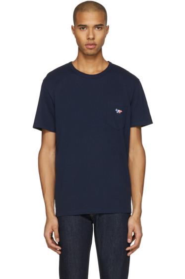Maison Kitsuné - Navy Tricolor Fox T-Shirt