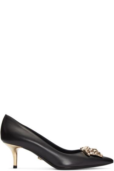 Versace - Black Leather Medusa Heels