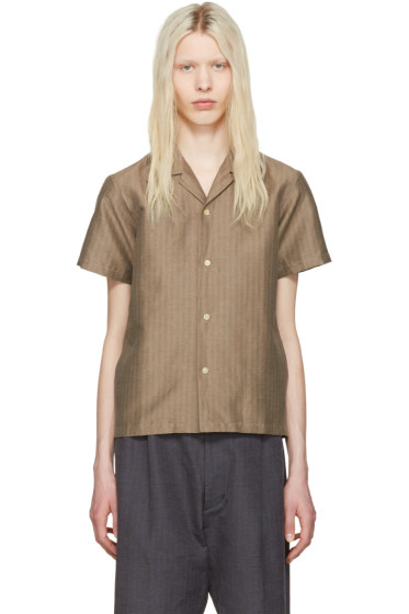 Sasquatchfabrix - Beige Striped Open Collar Shirt