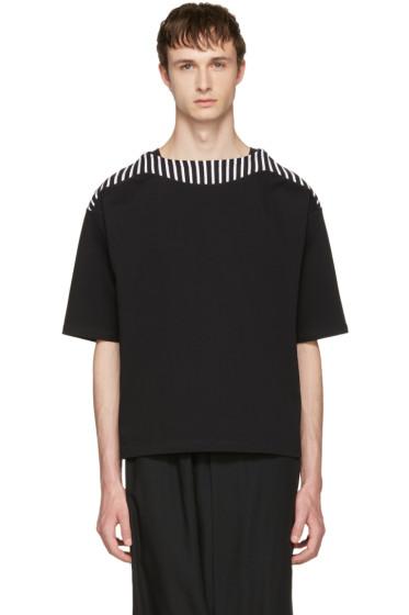 Sasquatchfabrix - Black Boatneck Cut Sew T-Shirt