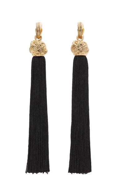 Saint Laurent - Black & Gold Loulou Tassel Earrings
