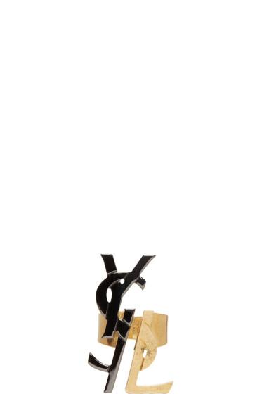 Saint Laurent - Black & Gold Monogram Deconstructed Ring