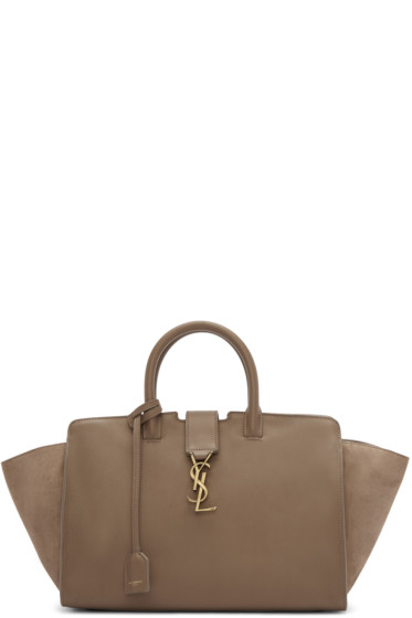 Saint Laurent - Taupe Small Cabas Monogram Bag