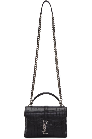 Saint Laurent - Black Croc-Embossed Medium Monogram College Bag