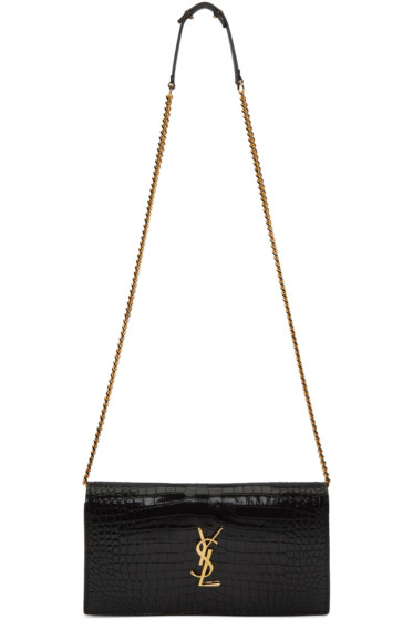 Saint Laurent - Black Croc-Embossed Monogram Chain Wallet Bag