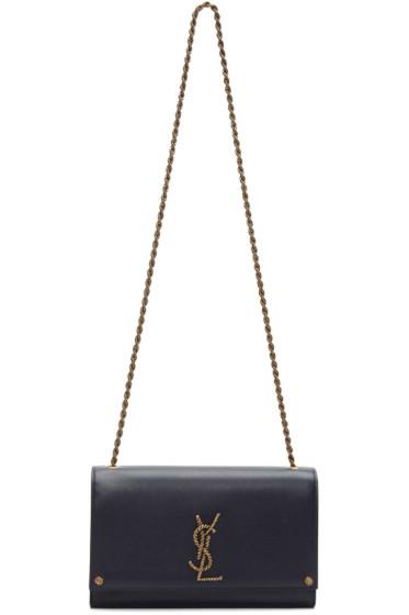 Saint Laurent - Navy Medium Monogram Kate Chain Bag
