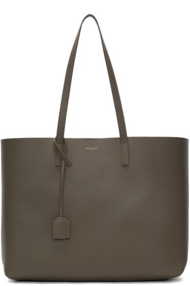 Saint Laurent - Khaki Large Shopping Tote Bag