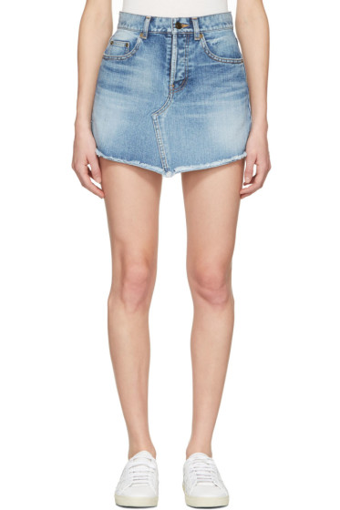 Saint Laurent - Blue Denim Trapeze Miniskirt