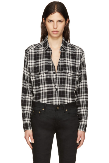 Saint Laurent - Black Tartan Check Oversized Shirt