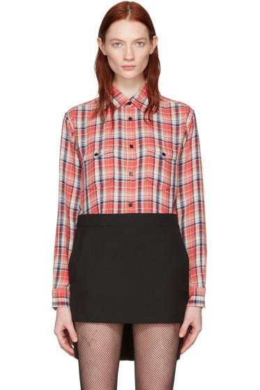 Saint Laurent - Pink Classic Western Plaid Shirt
