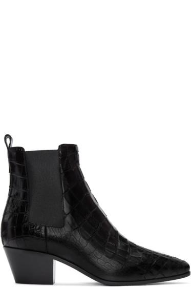 Saint Laurent - Black Croc-Embossed Rock Boots