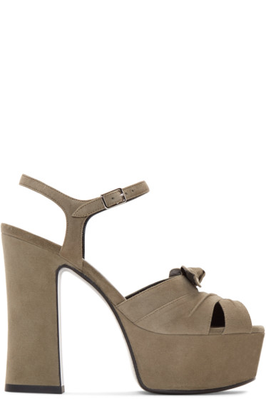 Saint Laurent - Taupe Suede Candy Bow Sandals