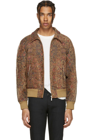 Saint Laurent - Tan Tapestry Teddy Bomber Jacket