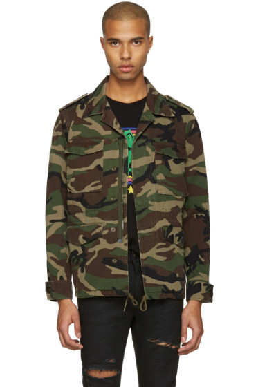Saint Laurent - Green Camo 'Love' Military Jacket