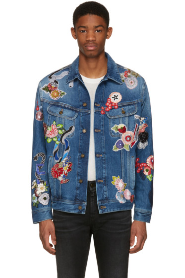 Saint Laurent - Blue Denim Love Patch Jacket