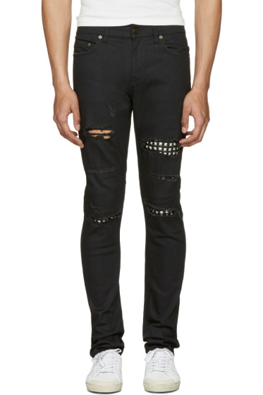 Saint Laurent - Black Studded Low Waisted Skinny Jeans