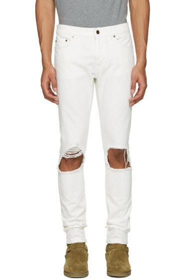Saint Laurent - White Low Waisted Skinny Jeans