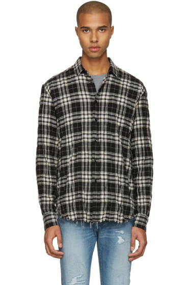 Saint Laurent - Black Check Wrinkled Shirt