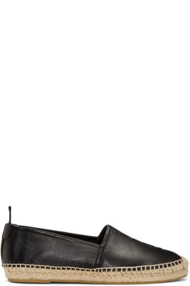 Saint Laurent - Black Leather Monogram Espadrilles
