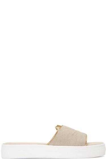 Charlotte Olympia - Grey Canvas Kitty Pool Slides