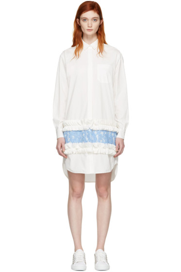 MSGM - White Ruffle & Lace Shirt Dress