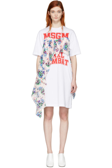 MSGM - White Draped Floral Panel Dress