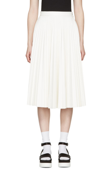 MSGM - White Faux-Leather Pleated Skirt