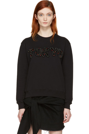 MSGM - Black Embroidered 'Tokyo' Pullover