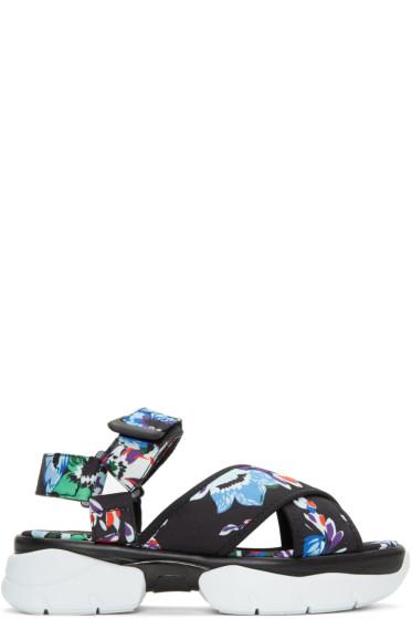 MSGM - Black Floral Multi Strap Sandals