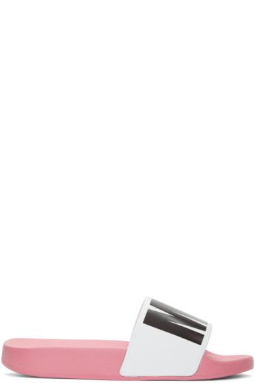 MSGM - White & Pink Logo Slide Sandals
