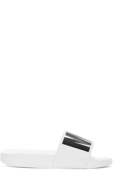 MSGM - White Logo Slide Sandals