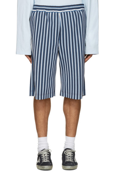 MSGM - Blue Striped Shorts