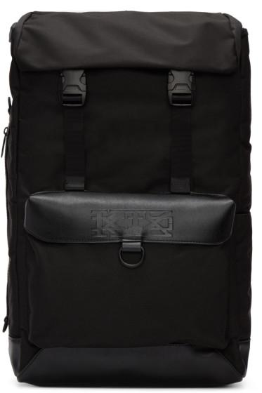 KTZ - Black Leather Flap Backpack
