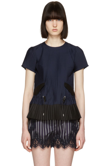 Sacai - Navy Pleated Shirting Blouse